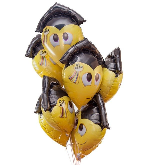 Букет шаров Смайл-выпускник (9 или 18 шаров) – фото № 1