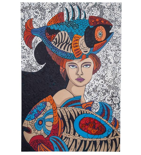 Авторская картина Дама с рыбами (75 Х 110 см) – фото № 1