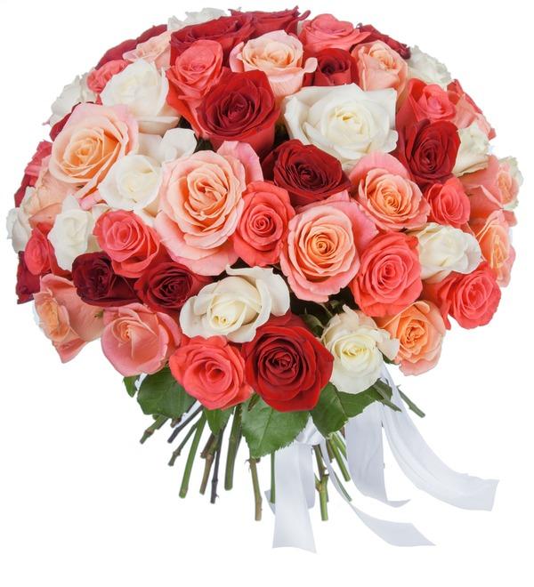 Букет Персиковое лето (25, 51, 101 роза) – фото № 1