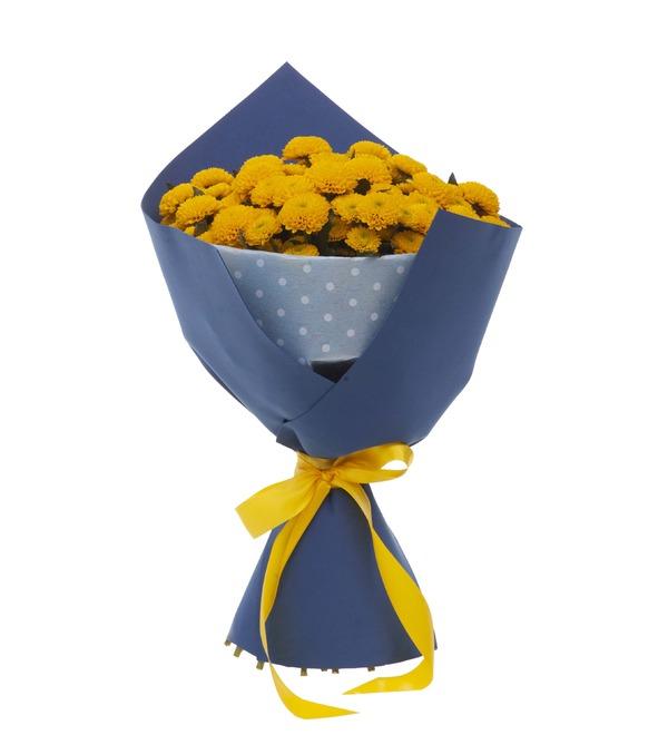 Букет-соло жёлтых хризантем (15,25,35,51,75 или 101) – фото № 4