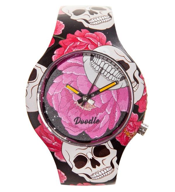 Часы Doodle Череп и Цветы – фото № 1