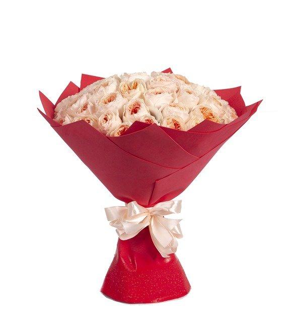 Букет-соло пионовидных роз David Austin Juliet (15,25,35,51,75 или 101) – фото № 4