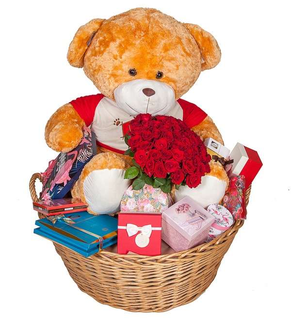 Composition Teddy bear with a bouquet – photo #5