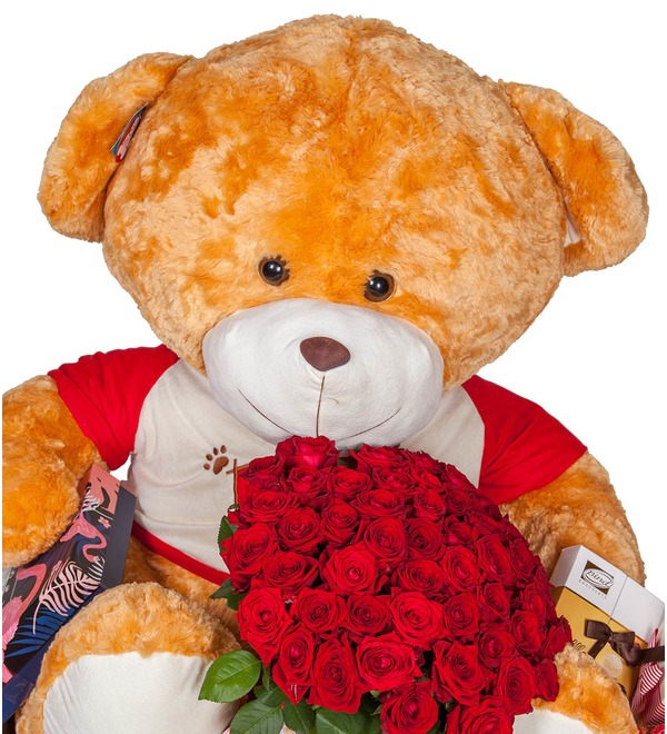 Composition Teddy bear with a bouquet – photo #3