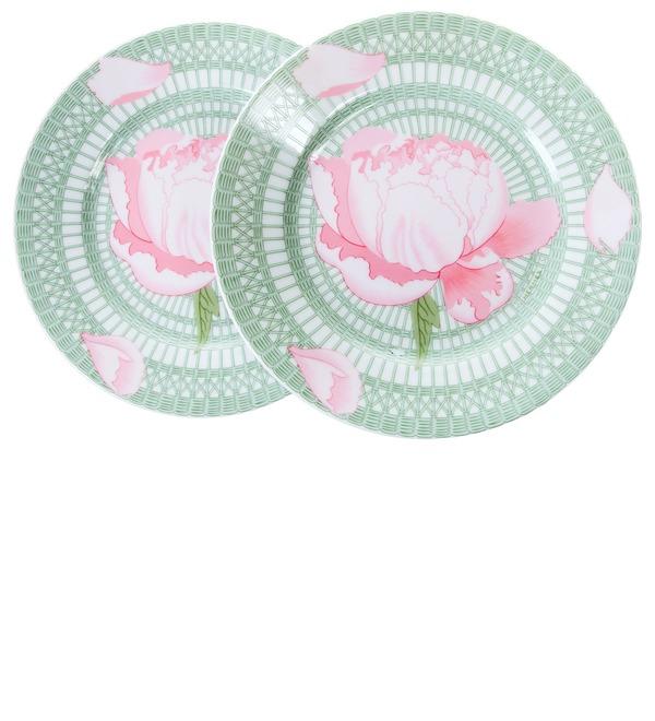 Gift Set of 2 decorative plates Peonies HERMES – photo #1