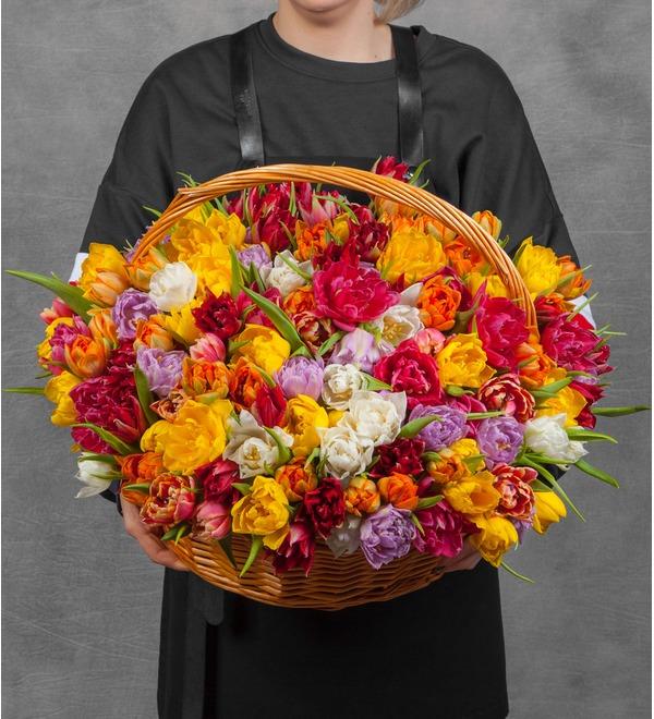 Композиция из разноцветных пионовидных тюльпанов (25, 51 или 101) – фото № 1