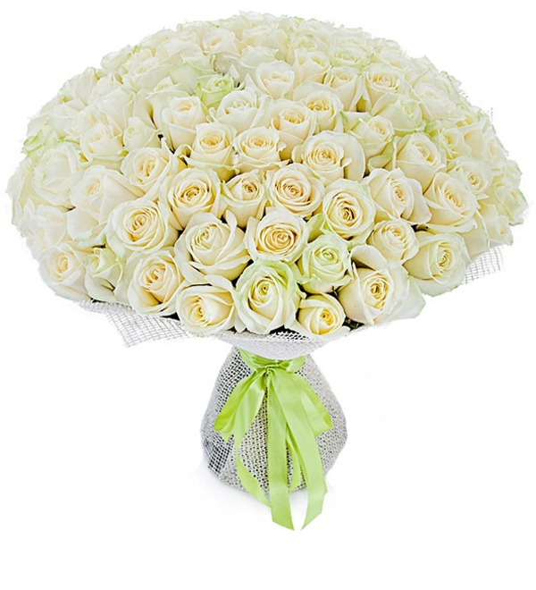 Букет из 101 белой розы Белое солнце – фото № 1