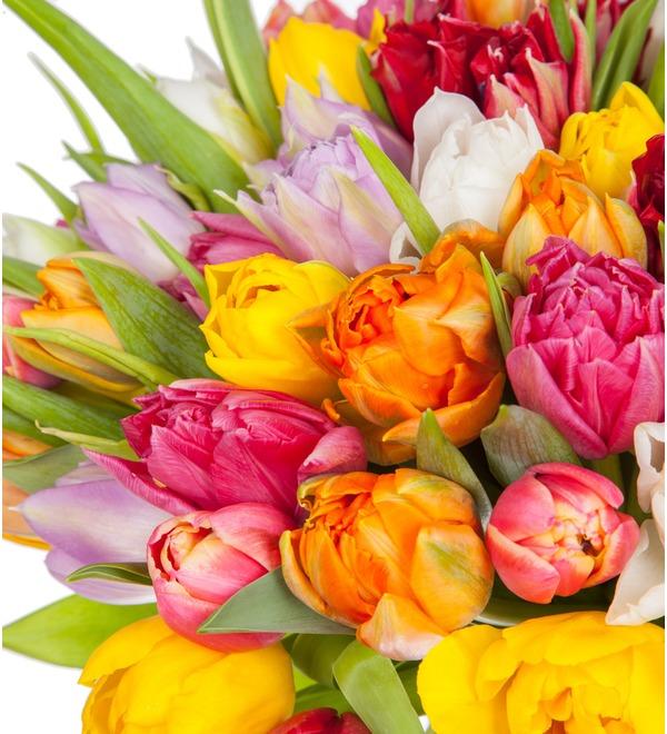 Букет из разноцветных пионовидных тюльпанов (25, 51 или 101) – фото № 2