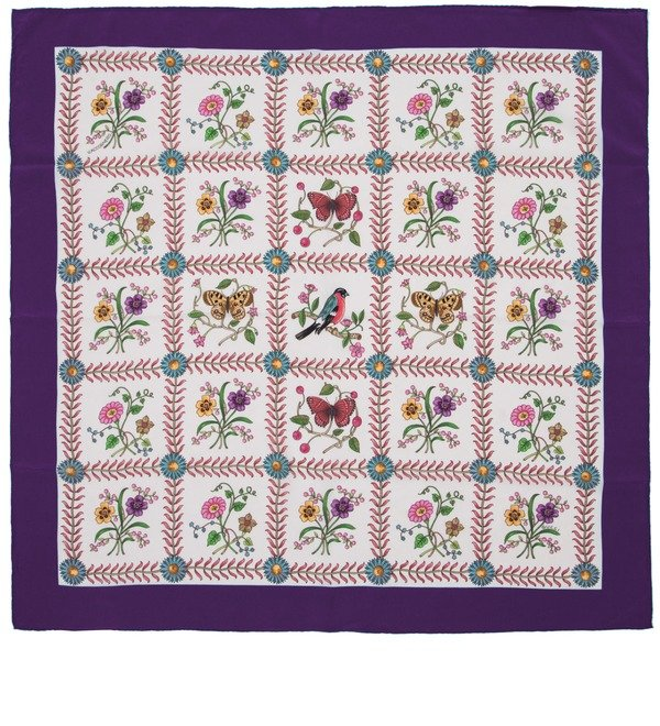 Шелковый платок GUCCI Летняя рапсодия (Италия, 90х90 см) – фото № 1
