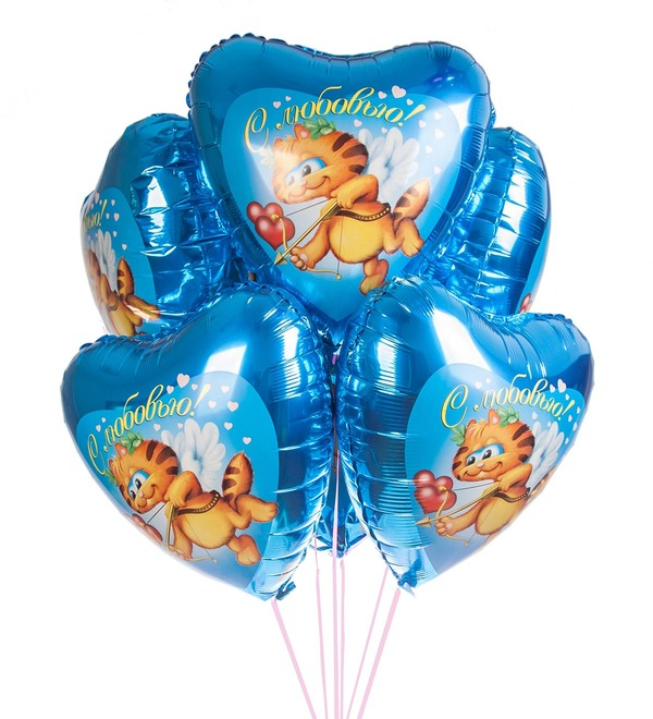 Bouquet of balloons Cat Cupid (7 or 15 balloons) – photo #1