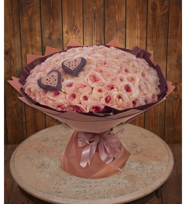 Букет-соло пионовидных роз Два сердца (35,51,75,101 или 151) – фото № 1
