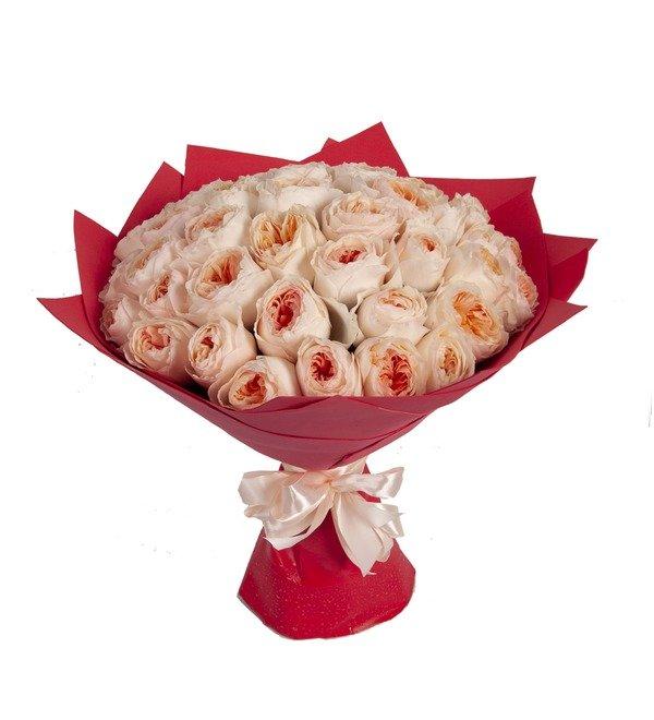 Букет-соло пионовидных роз David Austin Juliet (15,25,35,51,75 или 101) – фото № 5