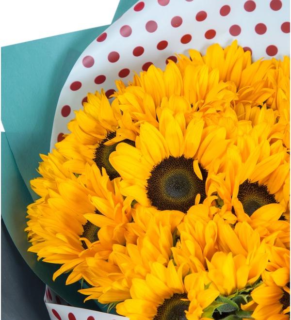 Букет Солнечный привет (19, 27 или 35 подсолнухов) – фото № 2