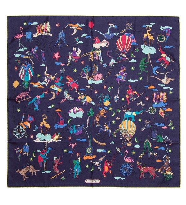Шелковый платок Salvatore Ferragamo Цирк (Италия, 65х65 см) – фото № 1