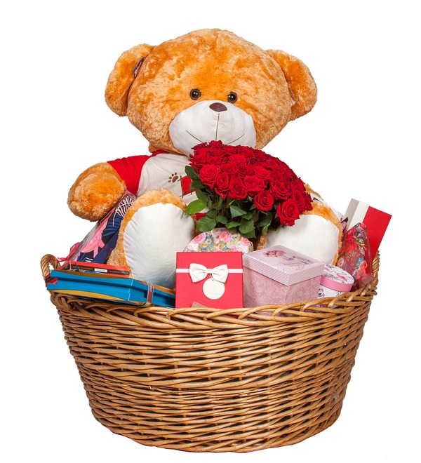 Composition Teddy bear with a bouquet – photo #4