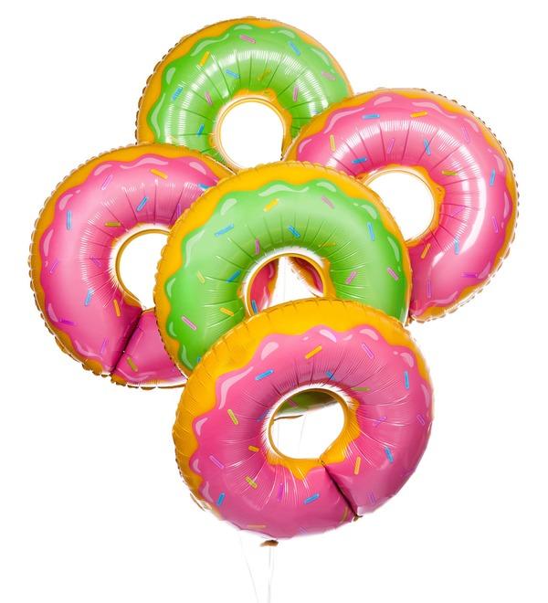 Букет шаров Сладкий пончик (5 или 9 шаров) – фото № 1