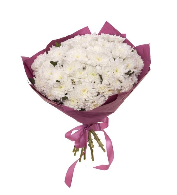 Букет-соло белых хризантем (9,15,25,35,51,75 или 101) – фото № 5