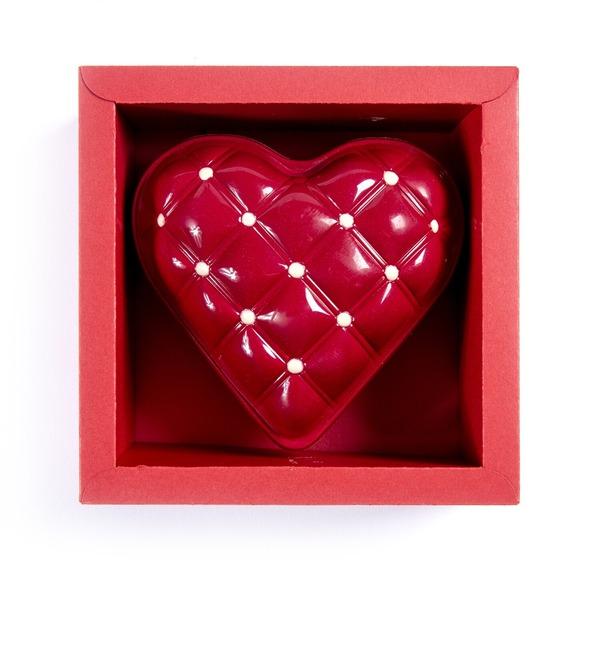 Сердце из бельгийского шоколада с шоколадным драже внутри – фото № 1