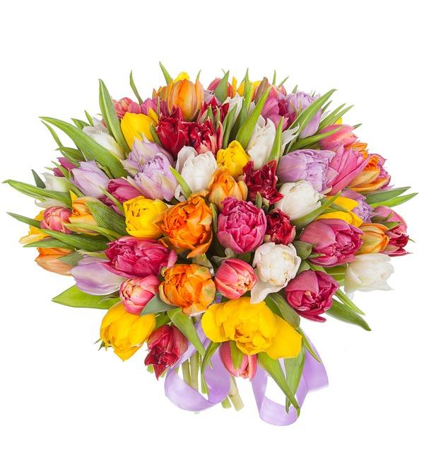 Букет из разноцветных пионовидных тюльпанов (25, 51 или 101) – фото № 5