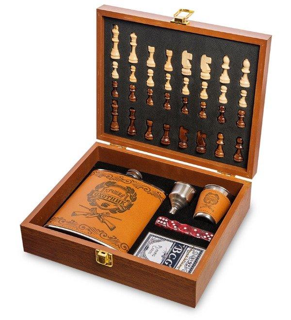 Подарочный набор фляжка 500 мл с шахматами Лучший охотник – фото № 1