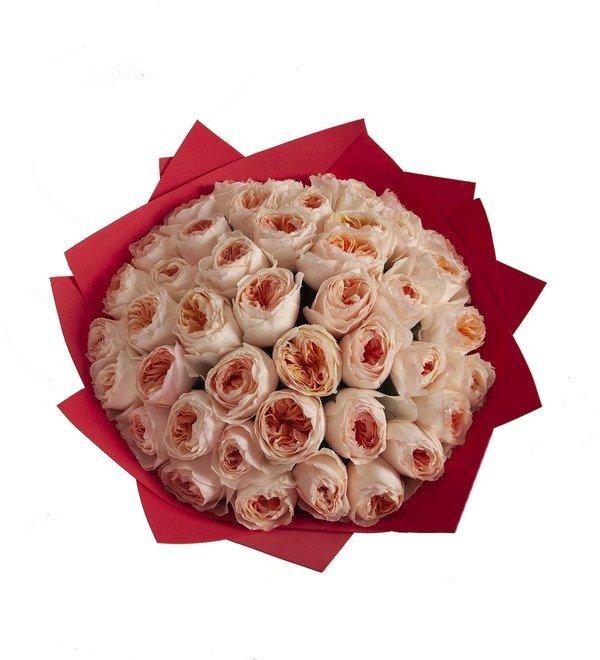 Букет-соло пионовидных роз David Austin Juliet (15,25,35,51,75 или 101) – фото № 3
