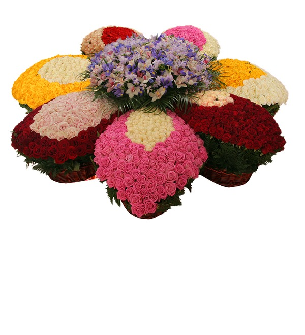 Композиция из роз и орхидей Цветок желаний – фото № 1